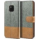 BEZ Hülle für Huawei Mate 20 Pro Handyhülle, Tasche Kompatibel für Huawei Mate 20 Pro, Handytasche Schutzhülle [Stoff & PU Leder] mit Kreditkartenhalter, Grau