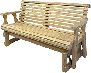 CAF Amish Heavy Duty 800 Lb Roll Back Pressure Treated Porch Glider (4 Foot, Unfinished)