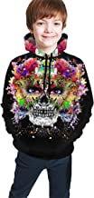 3D Printed Hand Drawn Indian Skull Teen Boys Girls Graphic Hoodies Cool Pullover Athletic Hooded Sweatshirts
