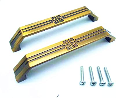 """XLY Cabinet Handle Drawer Pull Handle 3.8"""" Hole Center Cupboard Coffee Brown 2pcs"""