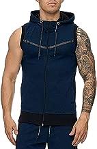Inforin Men's Stripe Line Vest Jacket Lightweight Patchwork Sleeveless Hoodie