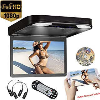 13.3inch 1080P Video Roof Mounted Overhead Monitor Built in DVD Player Flip Down Monitor for Car USB SD HDMI Input, AV Input/Output,FM&IR Transmitter 2pcs IR Headphone Included (Black),