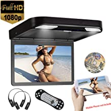 13.3inch 1080P Video Roof Mounted Overhead Monitor Built in DVD Player Flip Down Monitor for Car USB SD HDMI Input, AV Input/Output,FM&IR Transmitter 2pcs IR Headphone Included (Black)