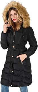 Maigke Coat Winter Women's Down Jacket With Removable Faux Fur Trim Hood Long
