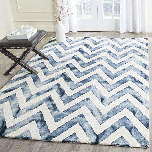 Safavieh Dip Dye Collection DDY715P Handmade Chevron Watercolor Premium Wool Area Rug, 8' x 10', Ivory / Navy