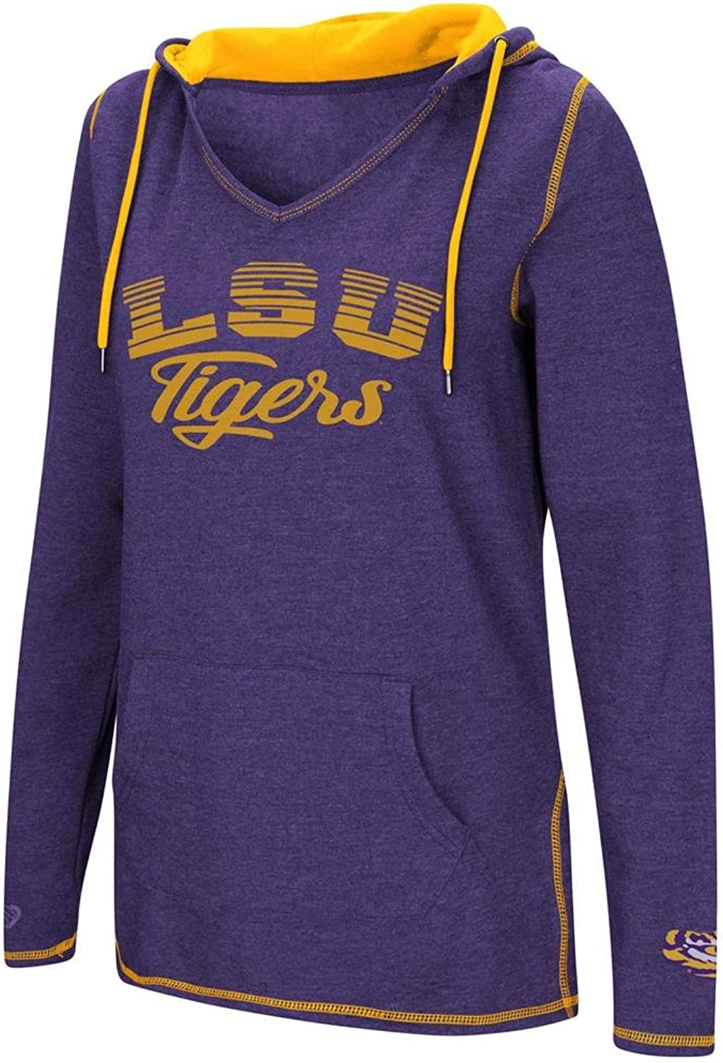 Colosseum Ladies LSU Tigers Purple Smaller Sized Scream It V Neck Hoodie Top