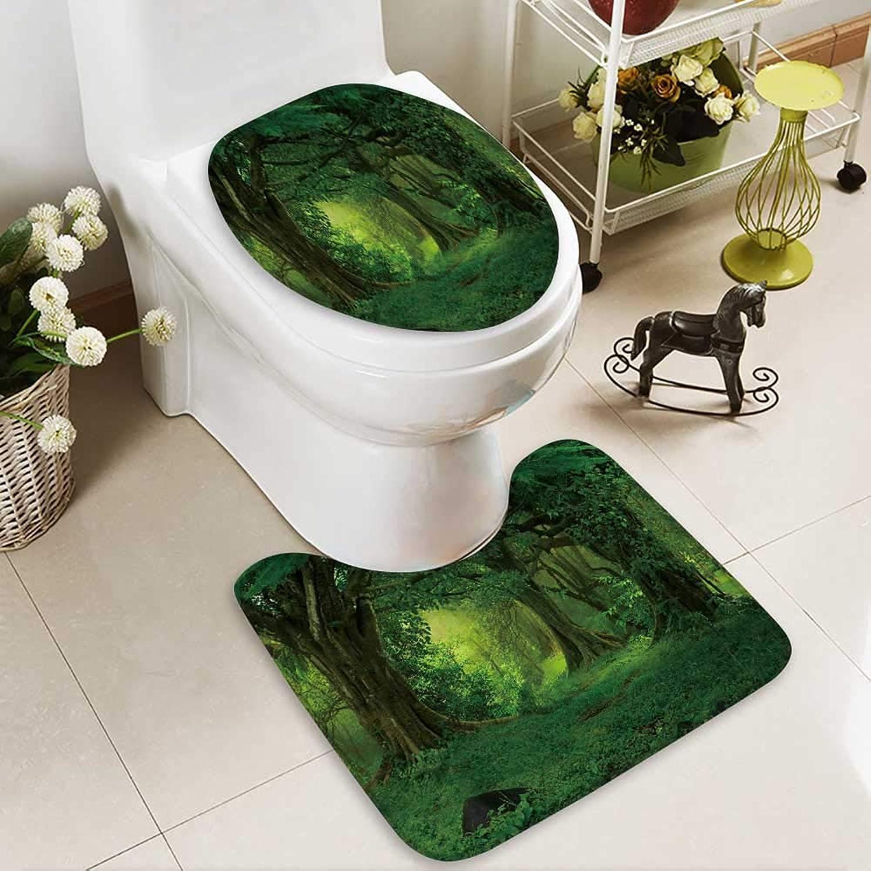 Analisahome Cushion Non-Slip Toilet Mat Tropical Rainforest_537389722 Soft Non-Slip Water