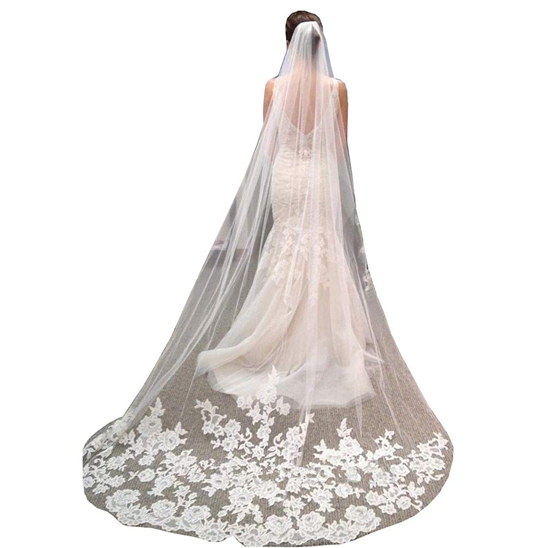 FXSHOP レースアップリケソフト糸長さ3 mブライダルベールスーパーロング花嫁ベールホワイト (色 : 白, サイズ さいず : 3m)