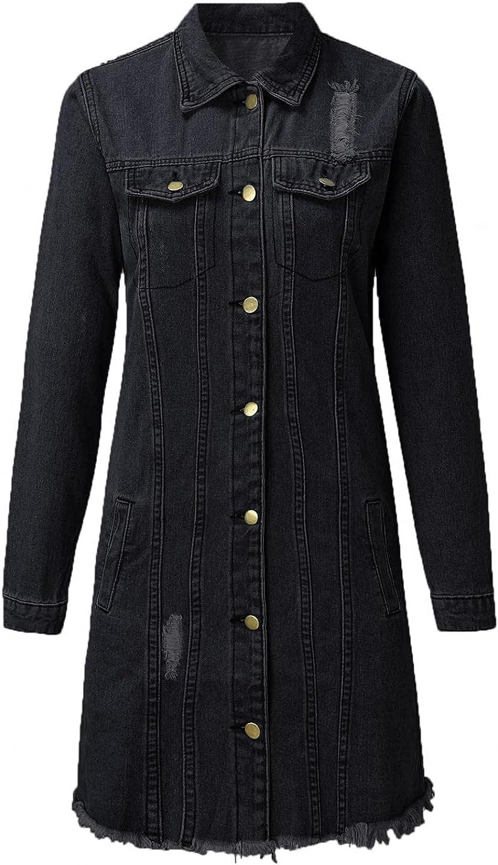 Misaky Denim Shirt Dresses for Women Blouse Button Denim Jacket With Pocket Outerwear