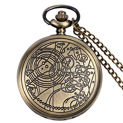 Orologio da taschino al quarzo, Dr Who, effetto bronzo retrò/vintage, custodia completa Hunter uomo/ragazzo, collana–Catena da 80cm