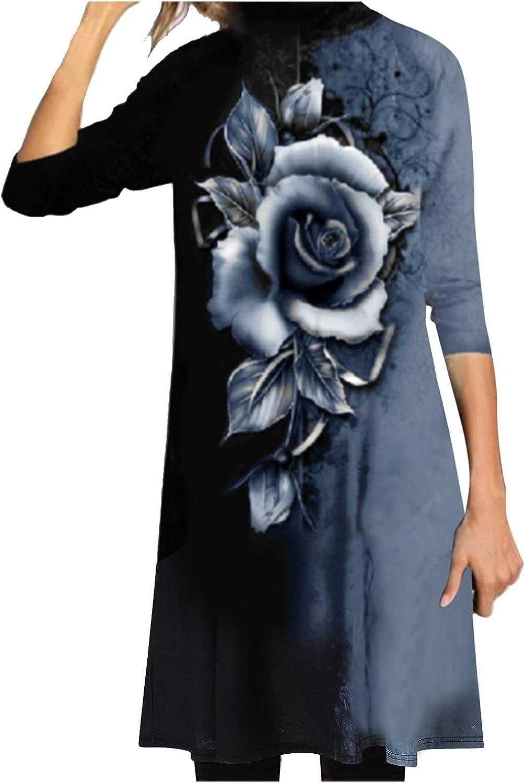 Smooto Womens Casual Long Sleeve Turtleneck Flower Print Loose Dress Shirt Dress