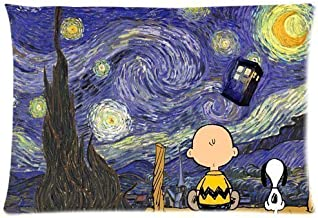 Bedroom Decor Custom Peanuts Snoopy Starry Night Funny Doctor Who Print Pillowcase Soft Zippered Throw Pillow Cover Cushion Case Covers Fasfion Design Two Sides Printed 20x30 Pillows