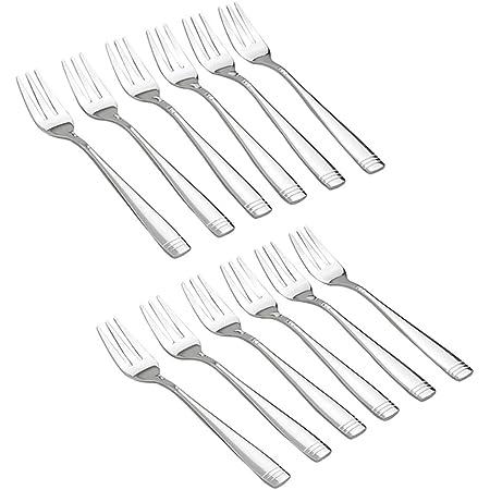 Dehouse juego de 12 Tenedores para aperitivos de acero inoxidable con 3 dientes