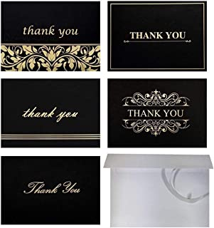 Top 100 Thank-You Cards with Self-Seal Envelopes Bulk Set, 4x6, Blank Inside, Black & Gold Foil-Embossed Thank You Note Cards Pack, 5 Designs - for Wedding, Bridal, Baby Shower, Funeral, Business