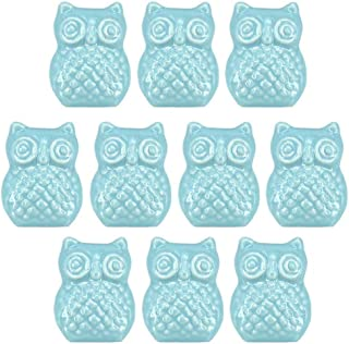 Ceramic Knobs, 10Pcs Light Green Owl Shape Ceramic Knobs Cartoon Animal Style Cabinet Pulls Decorative Cupboard Drawer Door Pull Handles with Screws