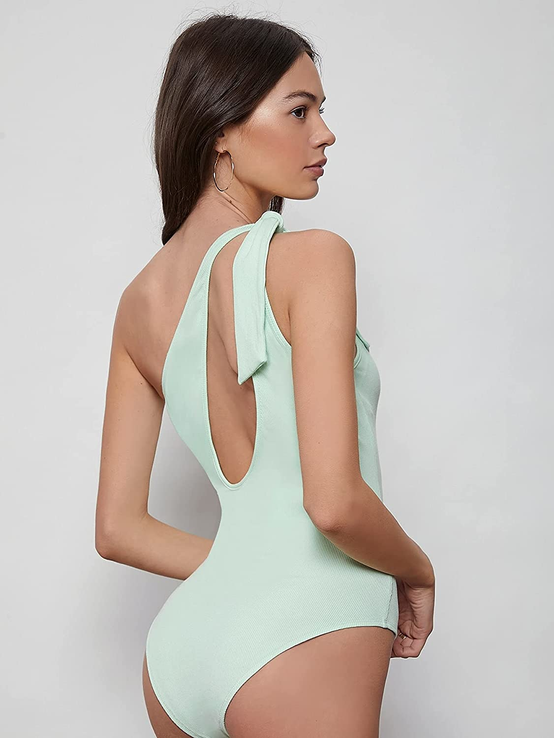 Milumia Women Knotted One Shoulder Sleeveless Bodysuit Top Asymmetrical Cut Out Leotard