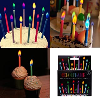 T-shin Coloured Flame Candles,12 Pack Amazing Vivid Colors Cupcake Candles,Long Time Creative Fun Wedding Birthday Anniversary Baby Shower Candles Set,Party Supplies,Cake Decoration(Six Color,Ho