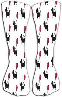 PeiZhengYuanLin-Shop, Calcetines Calcetín Compresión perro largo perro salchicha globo cachorro bufanda aislado dibujos animados repetir papel tapiz azulejo lindo perro Calcetines Altos 50CM
