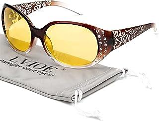 عینک رانندگی دید در شب LVIOE دور لرزش با لنزهای زرد قطبی برای زنان بسته بندی می شود