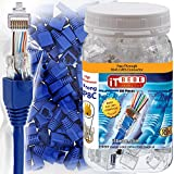 ITBEBE 100 Sets of RJ45 Cat6 Pass Through Connectors for 24 AWG Cables - 100 Pieces Cat6 Connectors Ends and 100 Pcs RJ45 Connectors Blue Strain Relief Boots for Clean, snag-Free ethernet Patch Cord