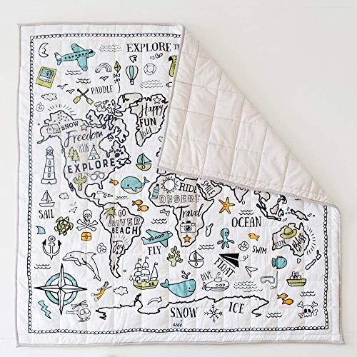 Organic Baby World Explorer Playmat - World Map Playmat - Nursery Rug - Gender...