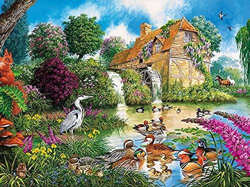 Jardín 5D DIY paisaje bordado punto de cruz mosaico conjunto de arte de diamantes decoración del hogar pintura de diamantes A6 45x60cm