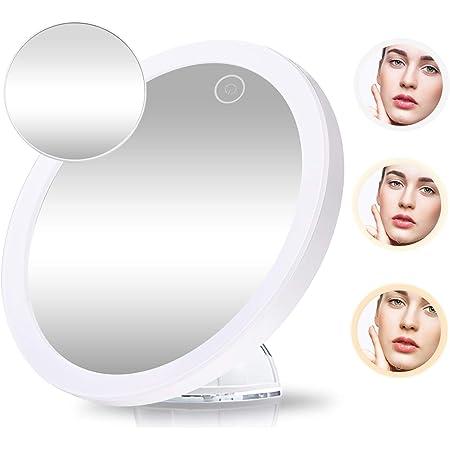 /Ø 10 cm Illuminazione a LED Da tenere in mano o sul supporto 2 tipi di luce Silkn Specchio per il trucco con lato normale e lato con ingrandimento 5x MirrorLumi