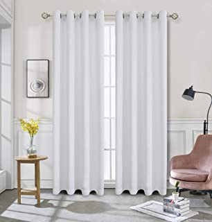 Home Basics Prelude Blackout Collection 52x84 Window Curtain Single Panel, Made of 100% Polyester (White)