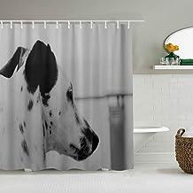 MANISENG Cortina de baño de Tela de poliéster,Orejas atigradas de Perro dálmata,con 12 Ganchos de plástico Cortinas de baño Decorativas 72x72 Pulgadas
