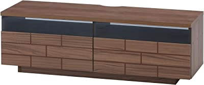 不二貿易 テレビ台 ローボード 幅120㎝ ミディアムブラウン スモークガラス 中身が見えにくい レンガ調 ブリック99300