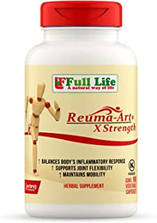 Full Life Reuma-Art X Strength - 180 Veggie Capsules - Extra Strength & Fast Acting Anti-Inflammatory - Joint Pain Relief ...