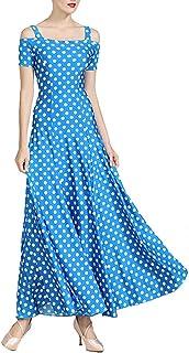 GXFXLP Dot Standard-Ballkleid-Frauen-Waltz-Kleid-Tanz-Abnutzungs-Ballsaal-Tanz-Kleid Modern Dance Kostüm-Kleid,Blau,XXL