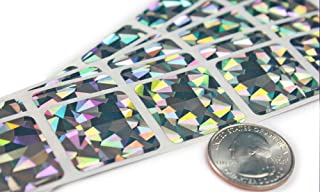 My Scratch Offs 1 Inch Square Metallic Silver Hologram Scratch Off Sticker Labels - 100 Pack