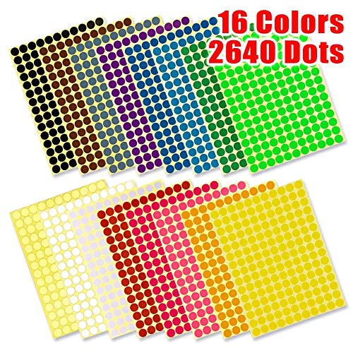 Round Stickers 16 Sheets Self Adhesive Coding Label Dot Stickers 10mm 16 Assorted Colors Combination