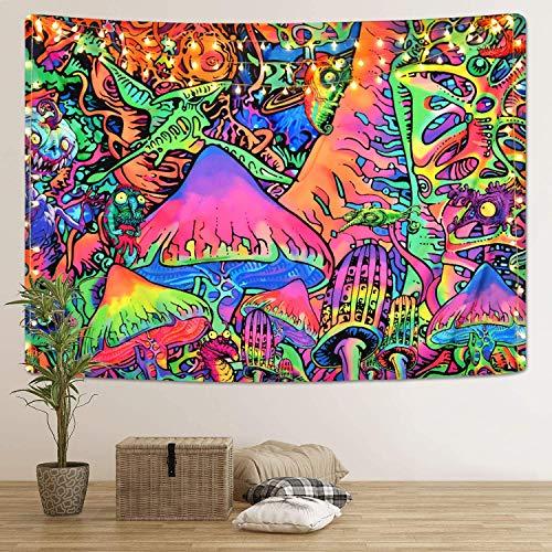 Hleane Psychedelische Wandteppiche Pilztapisserie Abstrakte Kunst Wandbehang Hippie Wandtuch Home Decor Tapisserie für Schlafzimmer Bunte, 130x150cm