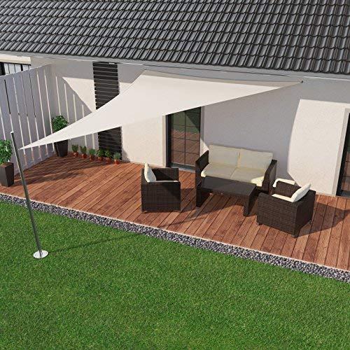 IBIZSAIL Sonnensegel wasserabweisend Sonnenschutz für Garten Balkon aus PES dreieckig-350 x 350 x 350 cm-Weiss(inkl. Spannseilen)