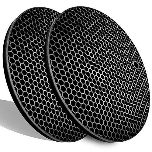 Extra Thick Silicone Trivets Heat Resistant Pot Holder and Oven Mitts,Trivets for Hot Dishes,Nonslip Insulation Honeycomb Rubber Hot Pads for Countertop,Multi-Purpose & Flexible Mats,2 Pack Black