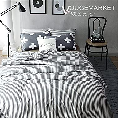 Vougemarket 3 Piece Duvet Cover Set (Queen,King) Duvet Cover with 2 Pillow Shams - Hotel Quality 100% Cotton - Luxurious, Comfortable, Breathable, Soft and Extremely Durable (Queen, Style 5)