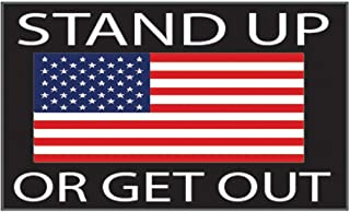 Rogue River Tactical American Flag Stand Up Or Get Out USA Patriotic Stars and Stripes Auto Bumper Sticker Vinyl Decal for Car Truck RV SUV Boat Support US Military (1 Pack)