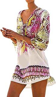 Bestme Women's Print Chiffon Dress Bikini Swimsuit Cover Up Tunic Swimwear Beachwear