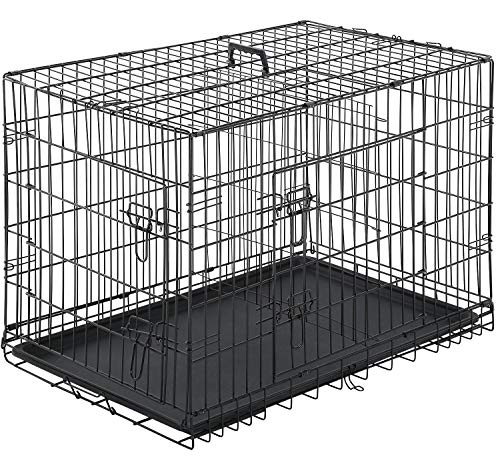 BestPet Dog Crate Double Door Folding Metal Dog Cage Plastic Tray Pet Crate Pet Cage W/Divider,24' 30' 36' 42' 48' (42' Dog Cage)