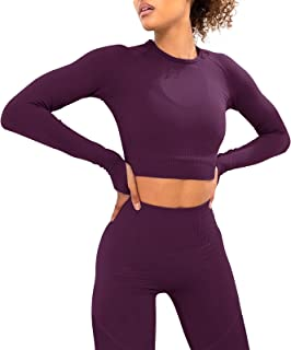 Jetjoy Yoga Outfits for Women 2 Piece Set,Workout High Waist Athletic Seamless Leggings and Sports Bra Set Gym Clothes