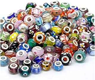 SEXY SPARKLES Pack of Ten (10) Assorted ful 100% Pure Murano Glass Bead Charms - Fits European Snake Chain Charm Bracelet