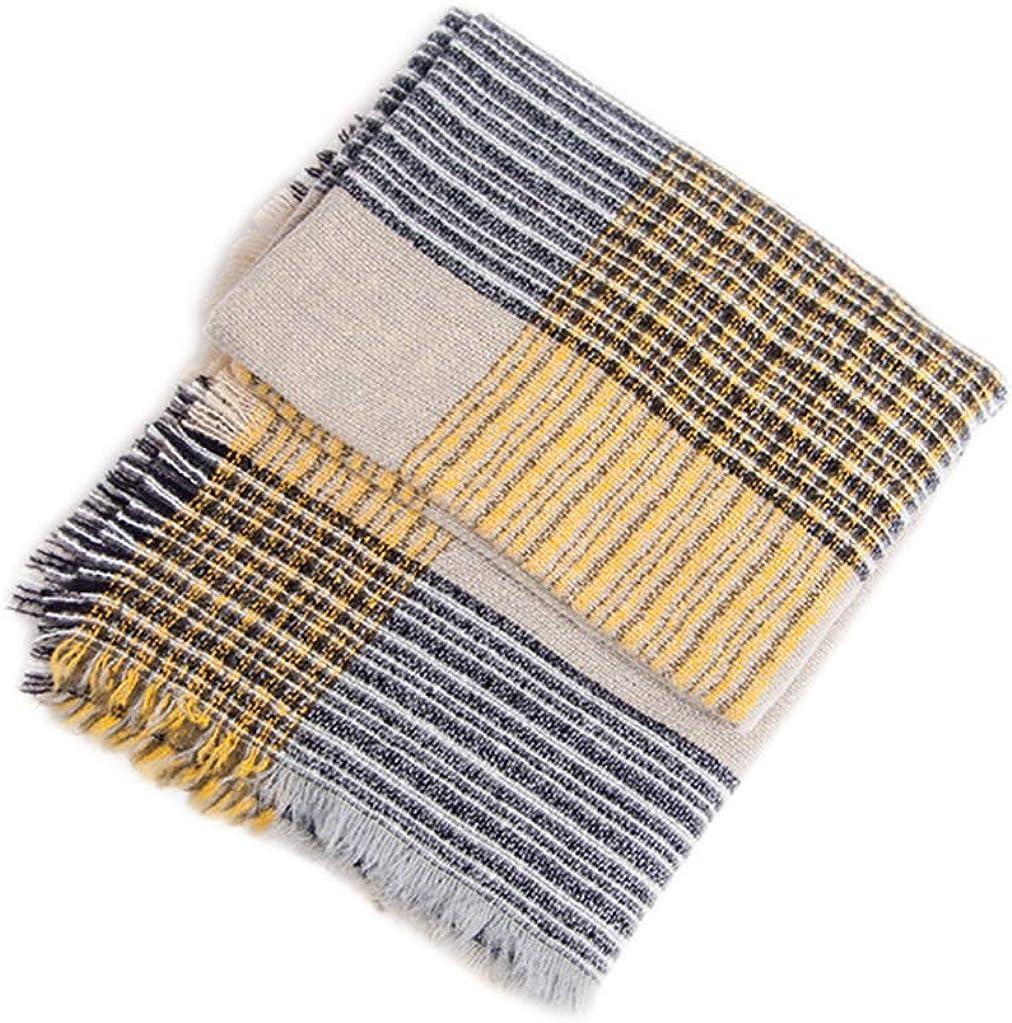 Tonwhar Womens Soft Warm Large Winter Scarf Square Shawls Stripe Plaid Scarf 53 X 53 Inch