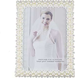 Romantic White Pearl and Crystal Decorated Plastic Family Picture Frame (5x7, Rectangular)