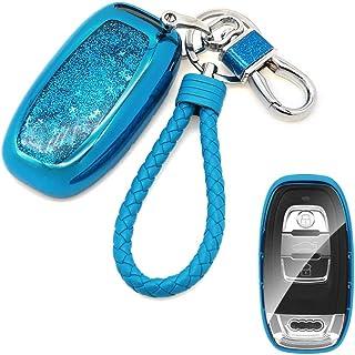 غطاء حافظة Senauto Quicksand Key Fob لأودي A1 A3 A4 A5 A6 A7 A8 Q5 Q7 S5 R7 R8 RS (أزرق)