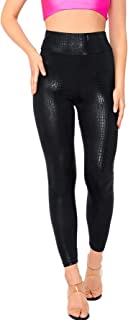 Women's Faux Leather Button Mid Waist Skinny Pants