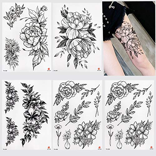tzxdbh Nuovo Autoadesivo del Tatuaggio temporaneo Impermeabile Old School Rose Pattern Tattoo Water Transfer Tattoo Flash Tattoo