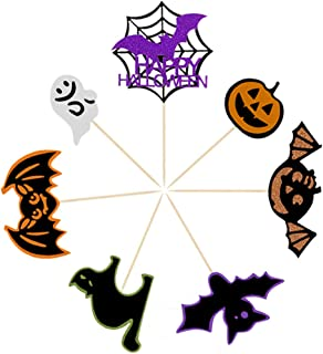 Coxeer 7PCS Cake Toppers Non-woven Cupcake Toppers Cake Decorations for Halloween Party
