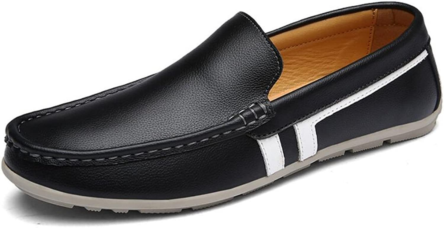 Men's shoes Flat Loafers 2018 Spring New Mens Casual shoes Leather Breathable Driving shoes Mens Travel Daily Loafers & Slip-Ons (color   Black, Size   41)